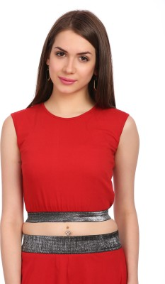 Legona Casual, Festive, Party Sleeveless Solid Women's Red Top