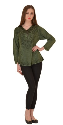 Skirts & Scarves Casual Full Sleeve Embroidered Women's Green Top