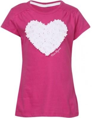 Joy N Fun Casual Short Sleeve Applique Girl's Pink Top