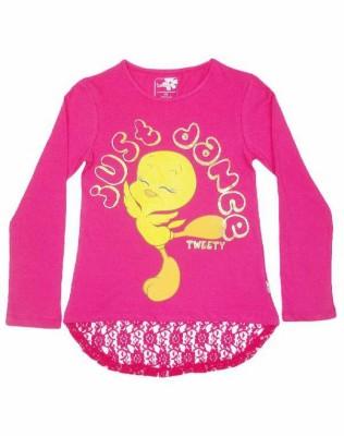 Tweety Casual Full Sleeve Printed Girl's Pink Top
