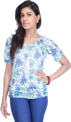 Stop To Start by Shoppers Stop Casual Short Sleeve Floral Print Women,s Blue, White Top