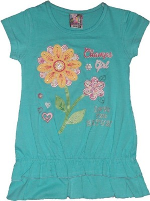 Red Rose Casual, Party, Festive Cap sleeve Applique Girl,s Light Blue Top