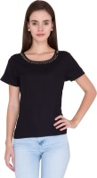 Alibi Casual Short Sleeve Solid Women's Black Top best price on Flipkart @ Rs. 550