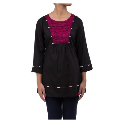 Ratan Jaipur Casual 3/4 Sleeve Embroidered Women's Black Top
