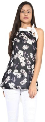 La Firangi Casual Sleeveless Printed Women's Black Top