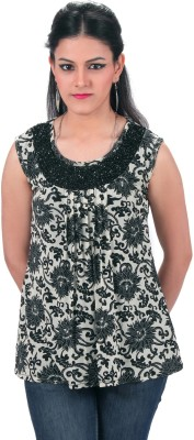 PurpleYou Casual Sleeveless Embellished Women's Black Top