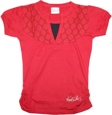 Kidsmasthi Casual Puff Sleeve Solid Girl's Red Top