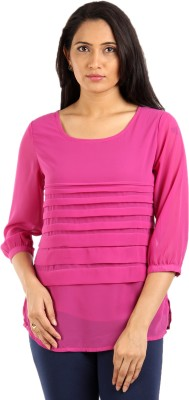 Mustard Casual 3/4 Sleeve Solid Women's Pink Top