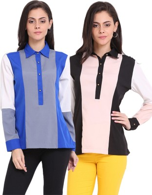 Ridress Casual Full Sleeve Solid Women's Multicolor Top