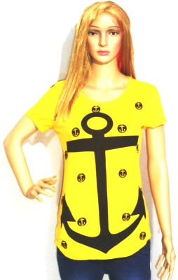 umesh fashion Casual Short Sleeve Printed Women's Yellow Top