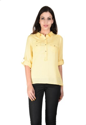 Latin Quarters Formal Roll-up Sleeve Solid Women,s Yellow Top