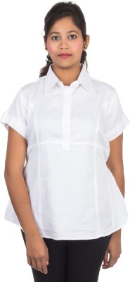 Juee Casual Short Sleeve Solid Women,s White Top