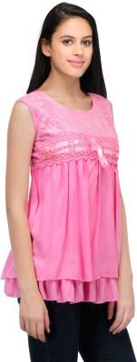 Shree Krishna Enterprise Party Sleeveless Solid Girl's Pink Top