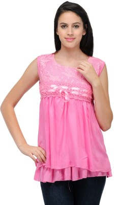 Fashion Hut Casual, Party Sleeveless Solid Women's Pink Top