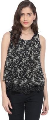 Ama Bella Casual Sleeveless Floral Print Women's Black Top