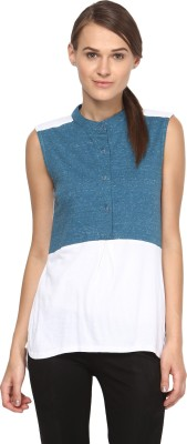 Annapoliss Casual Sleeveless Solid Women's White, Blue Top