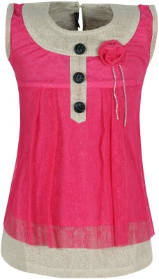 Jazzup Casual Sleeveless Solid Girl's Pink Top