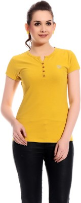 Rose Taylor Casual Short Sleeve Solid Women's Yellow Top