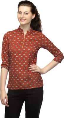 Bantry Casual 3/4 Sleeve Self Design Women's Brown Top