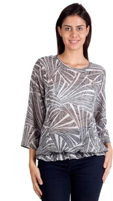 Ebry Casual 3/4 Sleeve Graphic Print Women's Grey Top