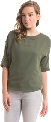 Shuffle Casual 3/4 Sleeve Solid Women's Green Top