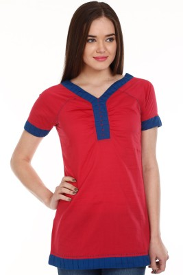 Mustard Casual Short Sleeve Solid Women's Red Top
