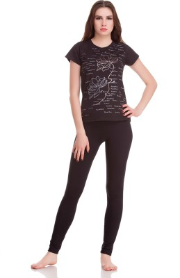 Private Lives Casual Short Sleeve Printed Women's Black Top