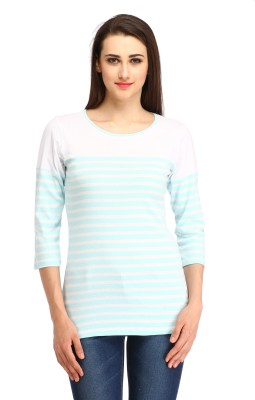 Cottinfab Casual 3/4th Sleeve Striped Women's Blue, White Top at flipkart