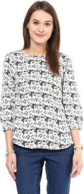 AROVI Casual 3/4 Sleeve Printed Women's White, Black Top