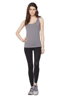 Channel Nine Casual Sleeveless Solid Women's Grey Top