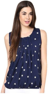 Aayushi Collection Casual Sleeveless Printed Women's Blue Top