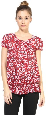 The Vanca Formal Short Sleeve Printed Women's Red Top at flipkart