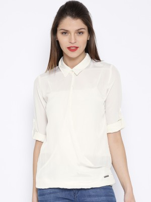 Harvard Casual Full Sleeve Solid Women's White Top