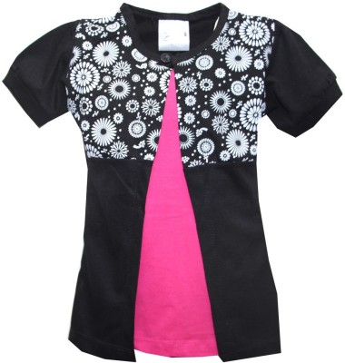 Kidsmasthi Casual Puff Sleeve Solid Girl's Black Top