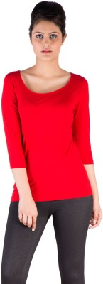 De Moza Casual 3/4 Sleeve Solid Women's Red Top