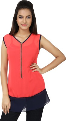 Whistle Casual Sleeveless Solid Women's Pink, Blue Top