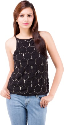 Centiaro Party Sleeveless Solid Women's Black Top