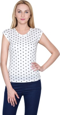Golden Couture Casual, Festive, Formal, Lounge Wear, Party Short Sleeve Polka Print Women's Multicolor Top