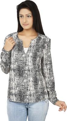 Clo Clu Casual Full Sleeve Printed Women,s Black, White Top