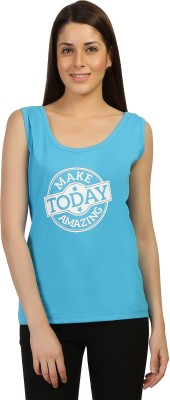 Threadz Casual Sleeveless Printed Women,s Blue Top