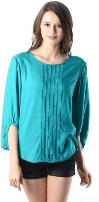 Oranje Formal 3/4 Sleeve Solid Women's Dark Blue Top