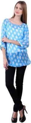 Selfiwear Casual 3/4 Sleeve Printed Women's Blue Top
