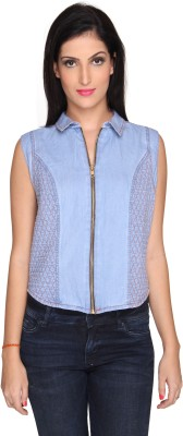 Bombay High Casual Sleeveless Solid Women's Light Blue Top
