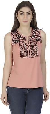 Gudi Casual Sleeveless Embroidered Women's Multicolor Top