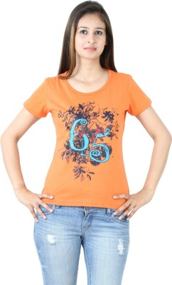 Groviano Casual Short Sleeve Printed Women's Orange Top
