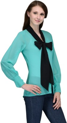 Just Wow Women's Self Design Casual Green, Black Shirt