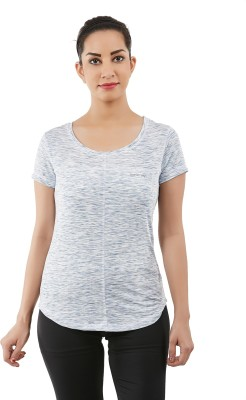 Forever Yoga Casual, Sports Short Sleeve Printed Women's Silver Top
