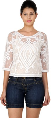 StyleToss Casual 3/4 Sleeve Solid Women's White Top