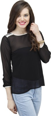 Osumfab Casual 3/4 Sleeve Solid Women,s Black Top