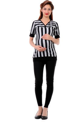 James Scot Formal Short Sleeve Striped Women's Black, White Top